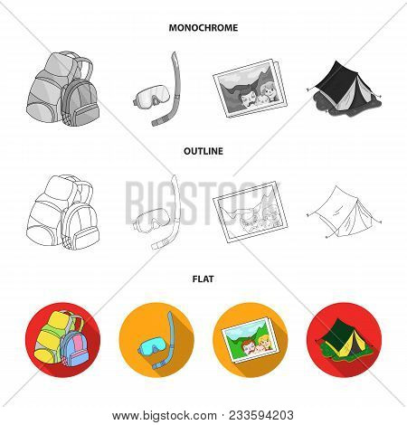 Vacation, Photo, Camera, Passport .family Holiday Set Collection Icons In Flat, Outline, Monochrome