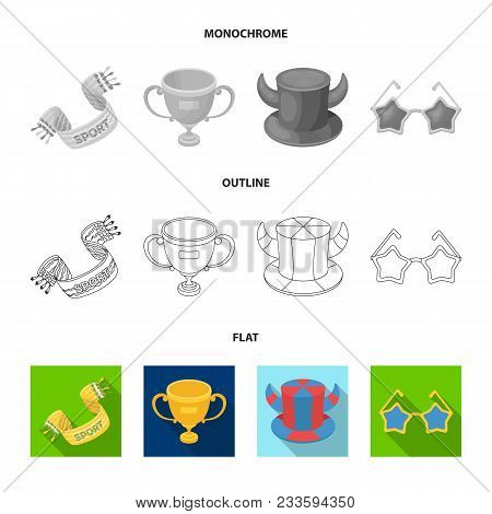 Pipe, Uniform And Other Attributes Of The Fans.fans Set Collection Icons In Flat, Outline, Monochrom