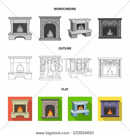 Fire, Warmth And Comfort.fireplace Set Collection Icons In Flat, Outline, Monochrome Style Vector Sy