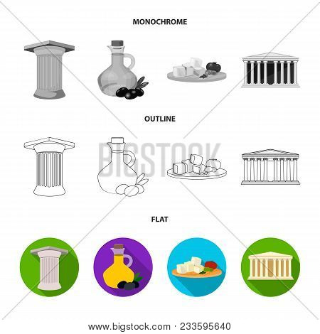 Greece, Country, Tradition, Landmark .greece Set Collection Icons In Flat, Outline, Monochrome Style