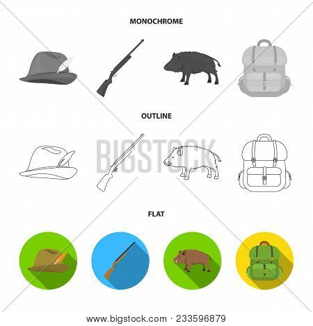 Knife With A Cover, A Duck, A Deer Horn, A Compass With A Lid.hunting Set Collection Icons In Flat,