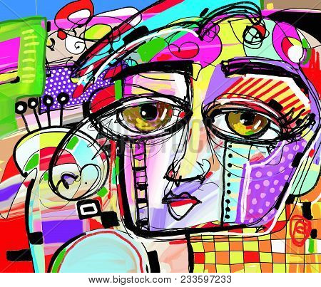 Original Abstract Digital Painting Of Human Face, Colorful Composition In Contemporary Modern Art, P