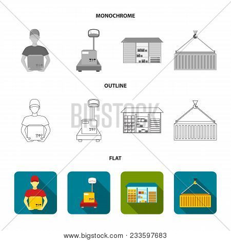 Cargo Plane, Cart For Transportation, Boxes, Forklift, Documents.logistic, Set Collection Icons In F