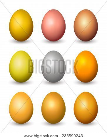 Set Of Vector Metallic Realistic Eggs. Isolated On White Background.