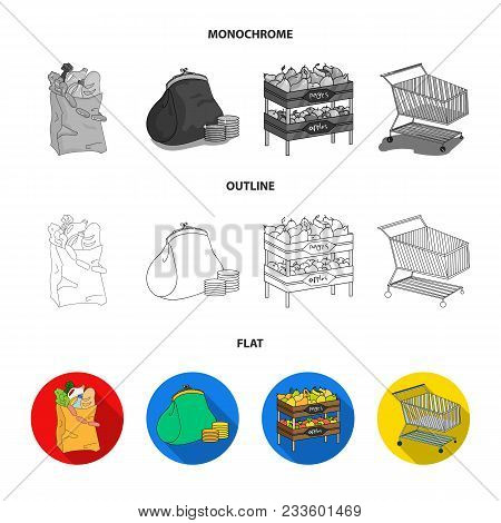 Sausages, Fruit, Cart .supermarket Set Collection Icons In Flat, Outline, Monochrome Style Vector Sy