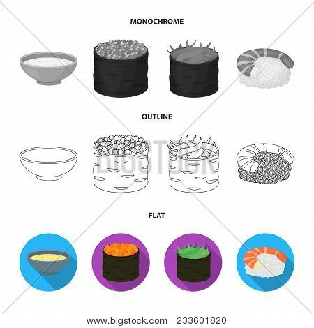 Bowl Of Soup, Caviar, Shrimp With Rice. Sushi Set Collection Icons In Flat, Outline, Monochrome Styl