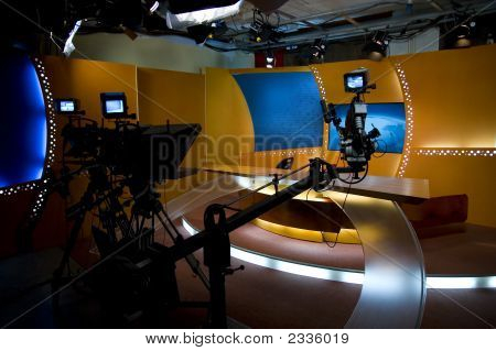 Tv Studio And Lights