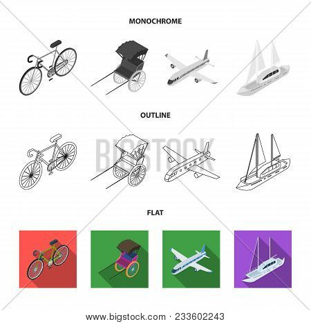 Bicycle, Rickshaw, Plane, Yacht.transport Set Collection Icons In Flat, Outline, Monochrome Style Ve