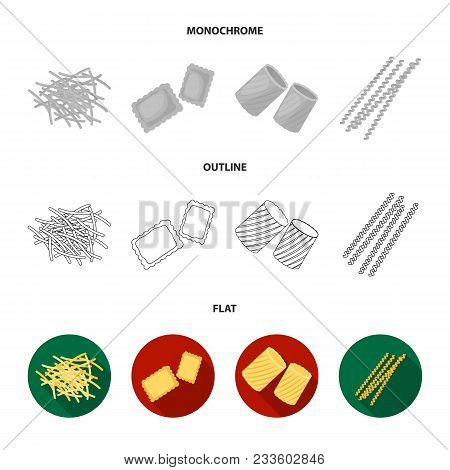 Different Types Of Pasta. Types Of Pasta Set Collection Icons In Flat, Outline, Monochrome Style Vec
