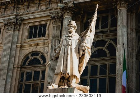 Patriot's Statue In Front Of Madama Palace, Turin, Italy