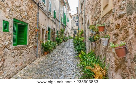 Vacation, Beautiful street in Valldemossa with traditional flower decoration, famous old mediterranean village of Majorca. Balearic island Mallorca, Spain