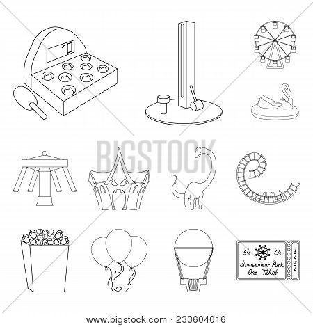 Amusement Park Outline Icons In Set Collection For Design. Equipment And Attractions Vector Symbol S