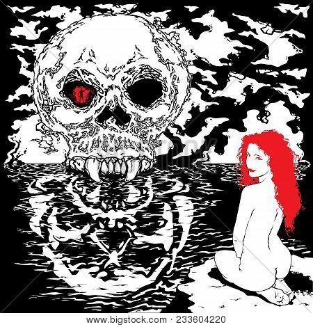 Skull. Reflection Of The Skull In Water. Naked Girl With Red Hair On The Beach.
