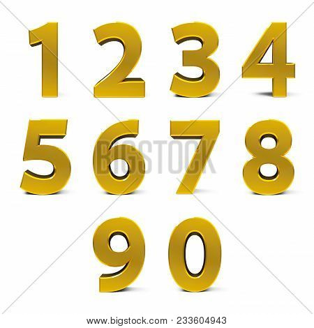 Gold Numbers Set From 0 To 9 Isolated On White Background, Three-dimensional Rendering, 3d Illustrat