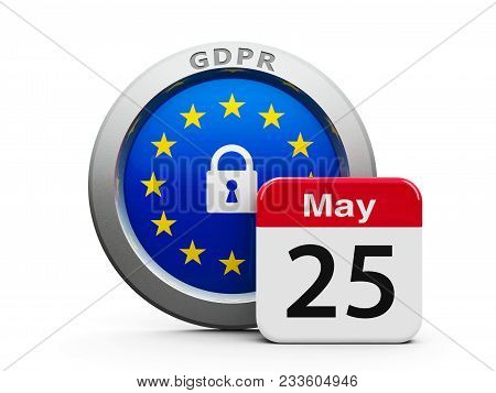 Emblem Of European Union With Calendar Button - The Twenty Fifth Of May - Represents The Implementat
