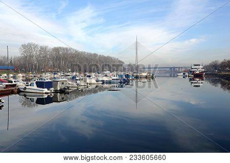 Belgrade, Serbia - December 19, 2014: Marina Ada Ciganlija At Sava River In Belgrade, Serbia.