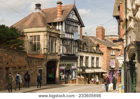 Shrewsbury United Kingdom - March 21 2018: Castle Gates In The English Town Of Shrewsbury With Its F