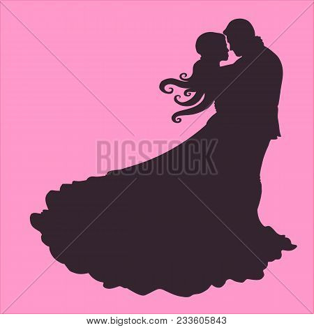 Silhouette Of A Couple In Love Hugging Rose.wedding Loving Couple
