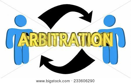 Arbitration Two People Negotiate Judgment Agreement 3d Illustration