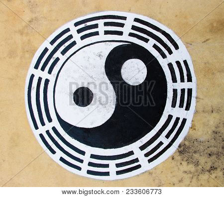 Black And White Color Yin Yang Circle On Leather Background