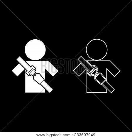 Man With Forklift Seat Belt Stick Figure Car Safety Belt Icon Set White Color Vector Illustration Fl