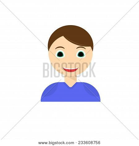 Young Man Smiling Face Icon. Boy With Joyful Facial Expression Flat Vector, Isolated On White Backgr