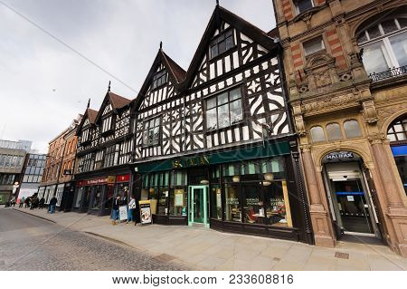 Shrewsbury United Kingdom - March 21 2018: Fine Examples Of Tudor Style Buildings And Facades On The