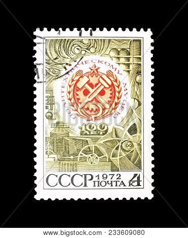 Soviet Union - Circa 1972 : Cancelled Postage Stamp Printed By Soviet Union, That Promotes Centenary