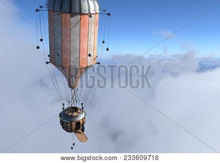 3d Illustration Fantasy Airship Zeppelin Dirigible Balloon