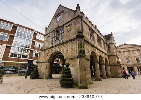 Shrewsbury United Kingdom - March 21 2018: The Old Market Hall Built In 1596 On The Square In The Ce