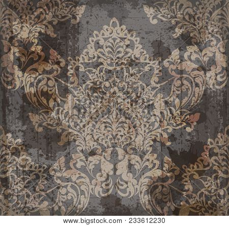 Vector Damask Pattern Element. Classical Luxury Old Fashioned Ornament Grunge Background. Royal Vict