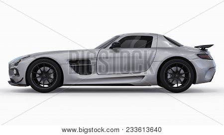 Mercedes-benz Sls Colors Gray Metallic. Three-dimensional Raster Illustration. Isolated Car On White