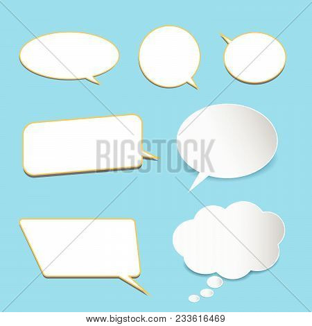 Vector Set Of Stickers Of Speech Bubbles. Blank Empty White Speech Bubbles