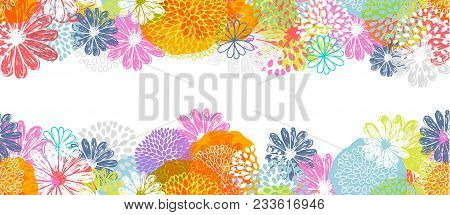 Seamless Vector Border With Lemon, White, Blue, Pink Stylized Doodle Flowers And Place For Your Text