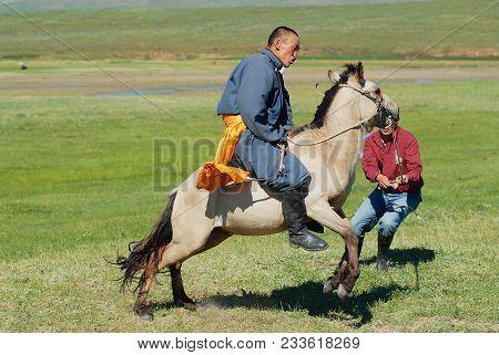 Kharkhorin, Mongolia - August 19, 2006: Unidentified Mongolian Men Tame Wild Horse Circa Kharkhorin,