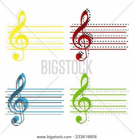 Music Violin Clef Sign. G-clef. Vector. Yellow, Red, Blue, Green Icons With Their Black Texture At W