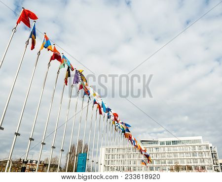 Strasbourg, France - Mar 29, 2018: View From Below Of Flag Of Russia Flying Half-mast At Council Of