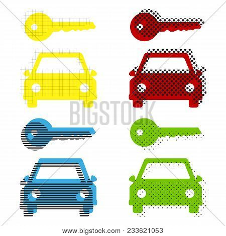 Car Key Simplistic Sign. Vector. Yellow, Red, Blue, Green Icons With Their Black Texture At White Ba