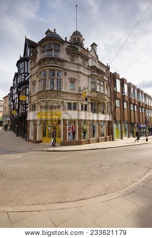 Shrewsbury United Kingdom - March 21 2018: The Old Victorian Royal Insurance Building Now A Joules C