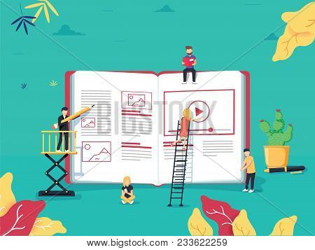 Online Education Concept With Small People Studying Near Big E-book And Online Course. Vector Illust