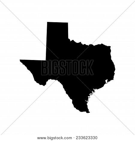 Territory Of Texas. White Background. Vector Illustration