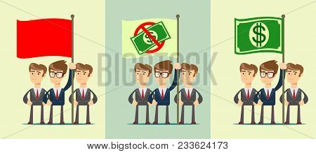People With Flag. Set. Isolated On Background. Stock Flat Vector Illustration.