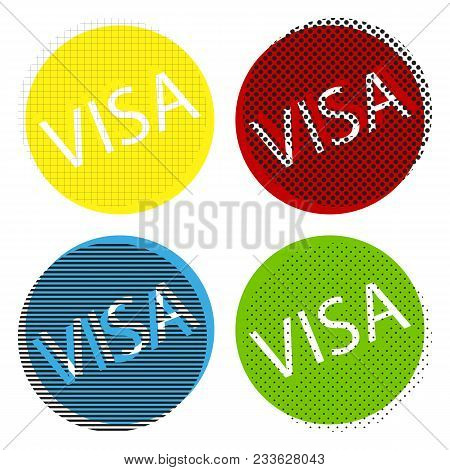 Visa Card Sign Illustration. Vector. Yellow, Red, Blue, Green Icons With Their Black Texture At Whit