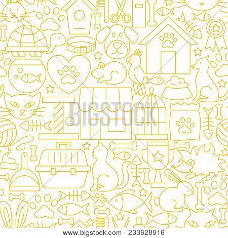 Pet Shop White Line Seamless Pattern. Vector Illustration Of Outline Tileable Background.