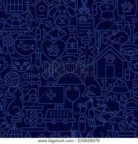 Pet Vet Line Seamless Pattern. Vector Illustration Of Outline Tileable Background.