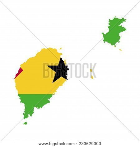 Territory And Flag Of Sao Tome And Principe. White Background. Vector Illustration