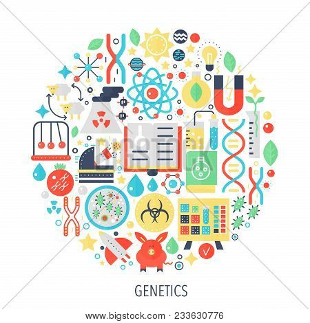 Biochemistry genetics technology flat infographics icons in circle - color concept illustration for biology genetics cover, emblem, template poster
