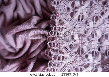 Thin Lace On Draped Pink Viscose Fabric
