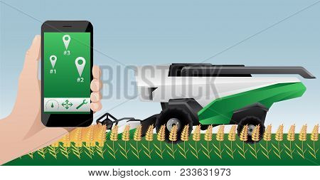 Hand With Phone. Remote Control Of Autonomous Combine Harvester. Vector Illustration