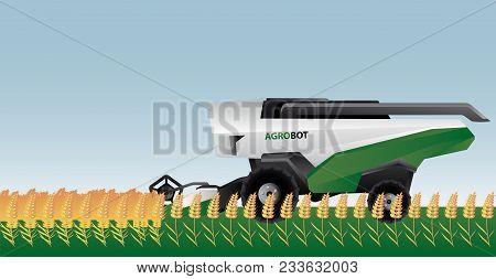 Autonomous Combine Harvester On A Field. Vector Illustration